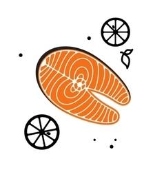 Salmon steak red fish vector image