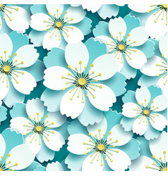 seamless pattern with blue white cherry blossom vector image