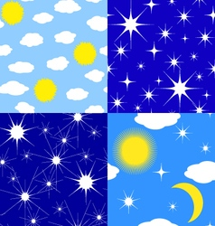 Seamless textures of stars sun moon clouds vector image