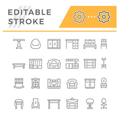 Set editable stroke line icons furniture vector