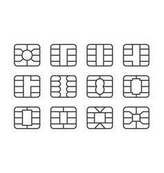 Set emv chip icon digital chip for banking vector