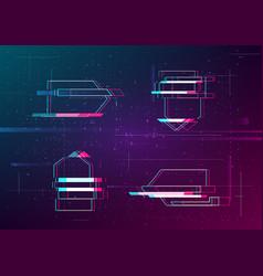 Set futuristic cyberpunk glitch arrows vector
