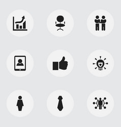 Set of 9 editable job icons includes symbols such vector