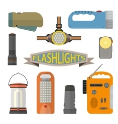 Set of flashlights in flat style Design vector