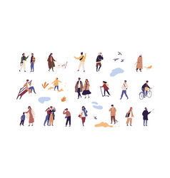 Set people walk and performing outdoor activity vector
