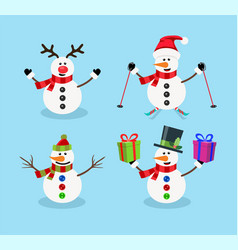set snowman christmas cartoon characters vector image