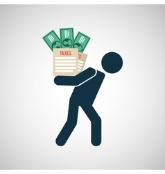 silhouette man financial crisis taxes money vector image