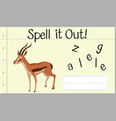 Spell english word gazelle vector