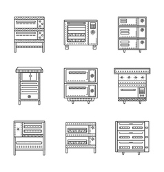 Stoves and ovens thin line icons vector image