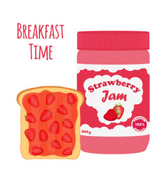 strawberry jam in glass jar toast with jelly vector image