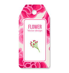 tag with peony pattern vector image