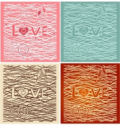 The word love in background Set of 4 cards vector