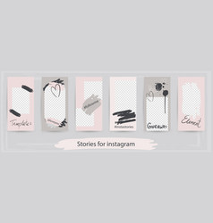 Trendy editable templates for instagram stories vector