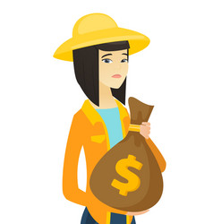 Upset young asian farmer holding a money bag vector