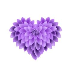 Violet Dahlia Flowers in A Heart Shape vector