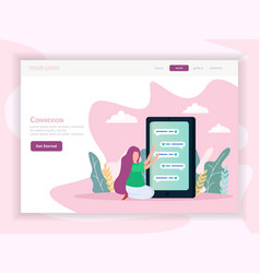 virtual love orthogonal landing page vector image