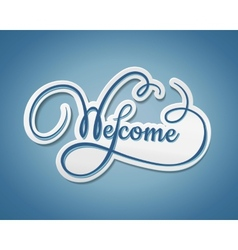 Welcome sticker with swirling text vector