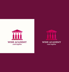 Wine academy abstract sign emblem or logo vector