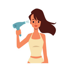 Woman makes styling with hair dryer flat cartoon vector