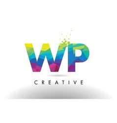 Wp w p colorful letter origami triangles design vector