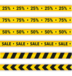 Yellow sale caution lines warning tapes discount vector