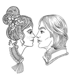 Young couple romance coloring page vector