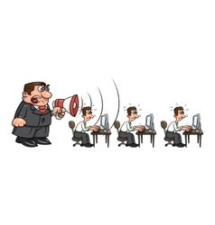 Boss yelling at workers 2 vector image