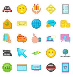 business program icons set cartoon style vector image