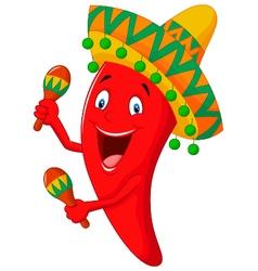 Chili cartoon playing maracas vector image