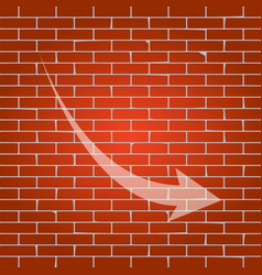 declining arrow sign whitish icon on vector image vector image