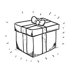 Gift box draw vector