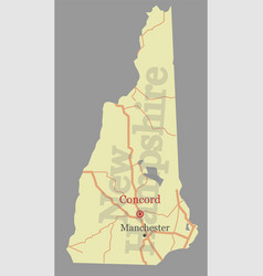 new hampshire state map with community vector image vector image