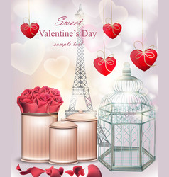 sweet valentine day card with flowers and hearts vector image