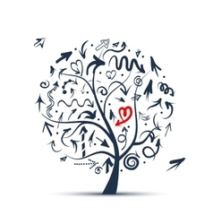 Tree with arrows sketch for your design vector image