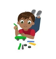 Boy sculpting a car vector