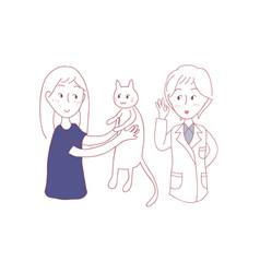 girl bring cat to meet vet vector image