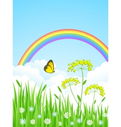 landscape with a rainbow vector image vector image