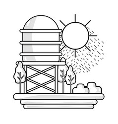 line water tank with trees and sun vector image