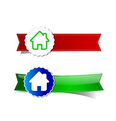 Set of home tag banner ribbon element vector image