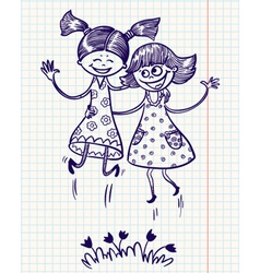 two pretty girls jump for joy vector image vector image