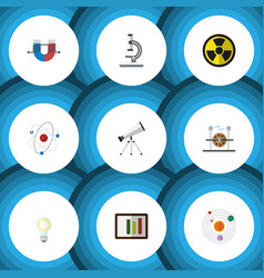 Flat icon science set of diagram milky way scope vector