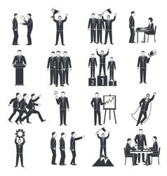 Leadership Black White Icons Set vector image