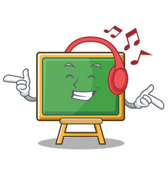 listening music chalk board character cartoon vector image