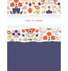 Ornamental folk tulips vertical torn frame vector image vector image
