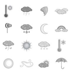 Weather icons set monochrome style vector image
