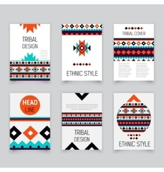 Set of geometric tribal colorful flyers brochure vector image
