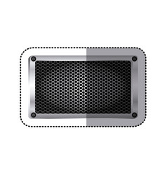 sticker rectangle metallic frame with grill vector image vector image