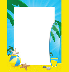 summer border and surfboard vector image vector image