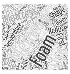 What is a memory foam mattress word cloud concept vector