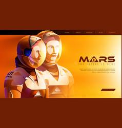 2 martian astronauts standing together vector